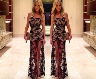 dress fashion style new year's eve sequin dress prom dress evening dress party dress party outfits sequins black white dress holiday season sexy dress bodycon dress maxi dress formal dress lace dress nude make-up long dress lace up fall outfits necklace
