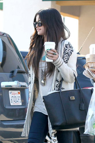 t-shirt selena gomez bag cardigan jewels