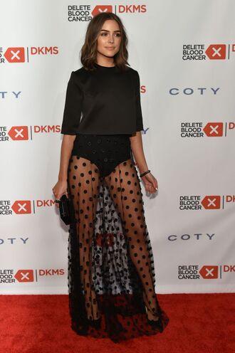 skirt top black dress dress polka dots see through maxi skirt underwear all black everything olivia culpo