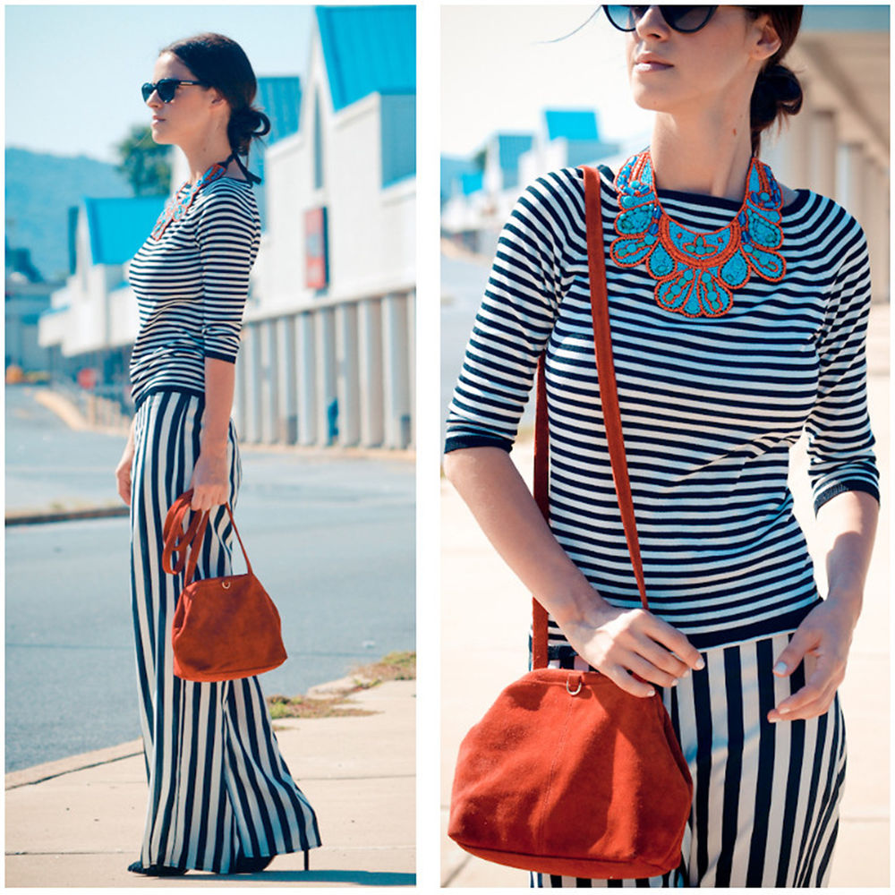 Womens Summer Casual Black-white Stripes Loose Wide Leg Palazzo Pants