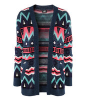 sweater,knitwear,ethnic,ethinc print,aztec,ethnic pattern,blue,green,pink,purple,black,colorful,geometric,sold out,fall outfits,winter outfits,2012,2012-2013,pullover,h&m,cardigan,knitted sweater,jacket,tribal cardigan,navy blue pink aztec