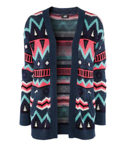 cardigan sweater aztec knitwear ethnic ethinc print ethnic pattern blue green pink purple black colorful geometric sold out fall outfits winter outfits 2012 2012-2013 pullover h&m knitted sweater