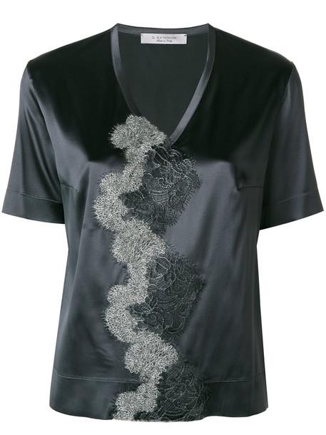 D.Exterior blouse women silk grey top