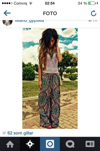 pants boho hippie boho chic hippie chic wide-leg pants loose palazzo pants aztec oriental print floral print pants boho patterns shorts shirt