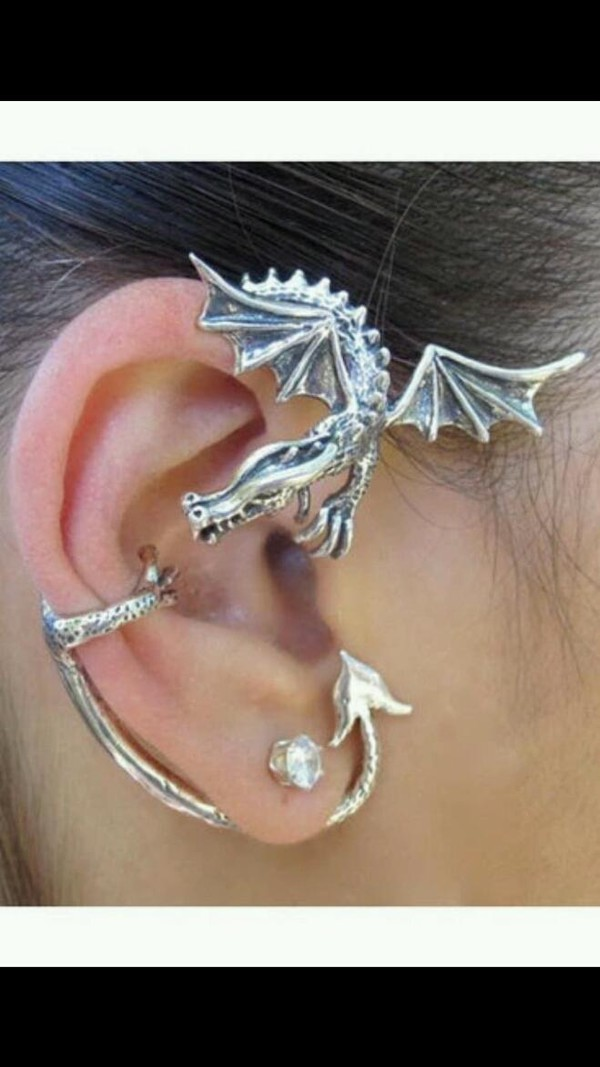 Dragon ear wrap dragon ear cuff silver elfin dragon ear wrap dragon jewelry game of thrones - Game of thrones dragon ear cuff ...