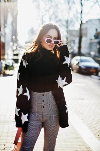style scrapbook blogger sweater pants bag shoes high waisted pants grey pants cardigan spring outfits