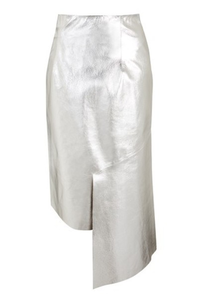 Topshop skirt leather skirt silver leather