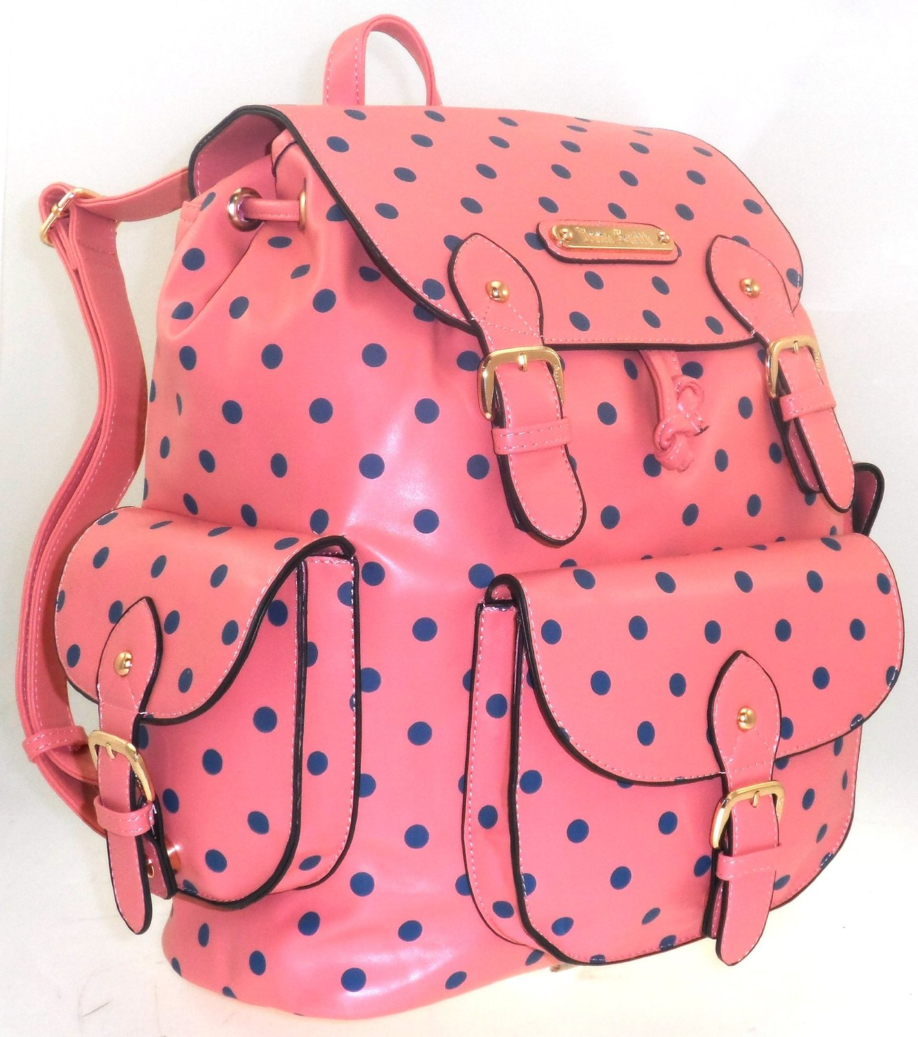 65c64fa6a729b3 LARGE LADIES ANNA SMITH POLKA DOT SCHOOL COLLEGE SHOULDER BACKPACK RUCKSACK  BAG PEACH: Amazon.co.uk: Shoes & Bags