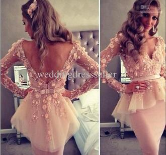 dress prom dress short dress short prom dress underwear blush pink peplum long sleeve floral print blouse pink floral peplum prom beige dress lace dress