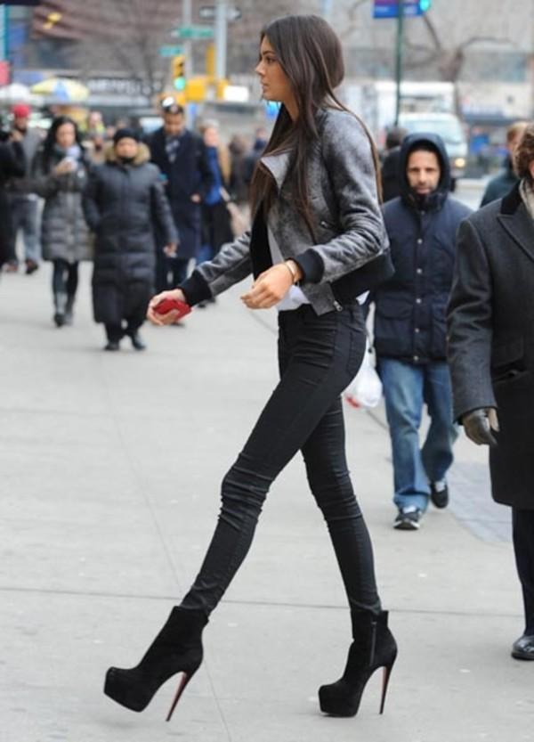 jacket grey jacket shoes tumblr gorgeous jeans pants pants black grey heels high heels kendall jenner coat fashion kendall jenner #whereto gettshoesandjeams? skyheels kendall jenner kardashians