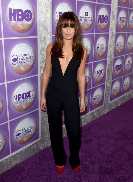 jumpsuit lea michele black pants top shoes pumps red high heels
