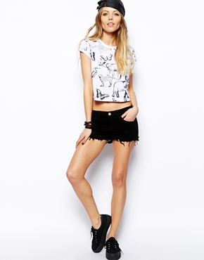 ASOS | ASOS Low Rise Denim Shorts in Washed Black at ASOS