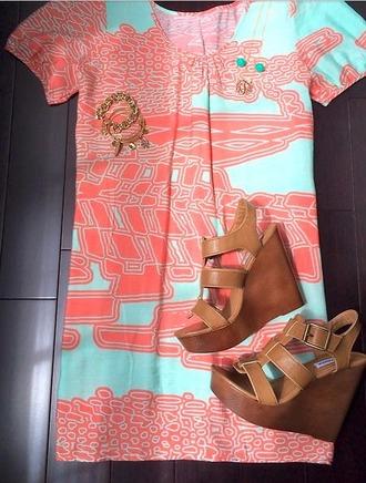 dress pink pattern short skirt