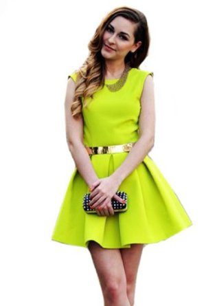 Amazon.com: Sheinside Neon Green Sleeveless Ruffle Backless Dress: Clothing