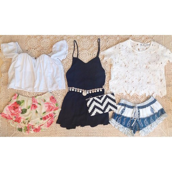 blue shorts boho bohemian shorts blouse rose shorts ruffle shorts floral shorts boho shorts boho top rose bottoms flower shorts printed shorts gypsy shorts