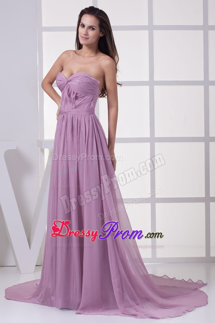 Ruching Accent Empire Court Train Lilac Prom Maxi Dress For Cheap