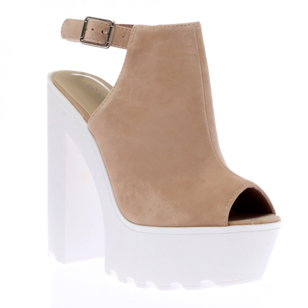 Harper nude suede high heeled cleated sole platforms