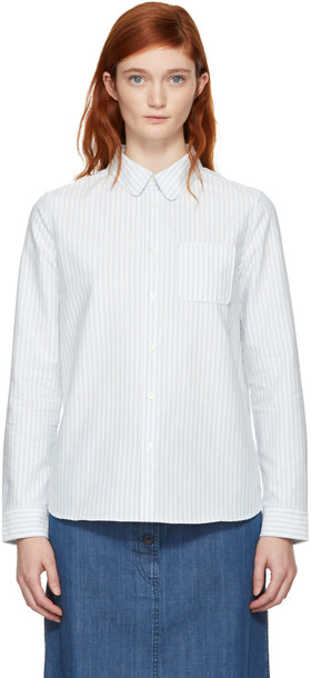 A.P.C. shirt white blue blue and white top