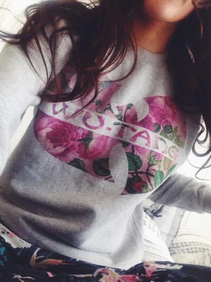 fashion floral wuwear wutang sweaterweather flowered flowered sweater real sweet wu-tang clan wutang clan wutang sweater hiphop hip hop sweater sweater weather style