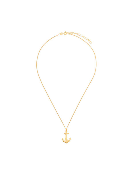 anchor women necklace pendant gold grey metallic jewels
