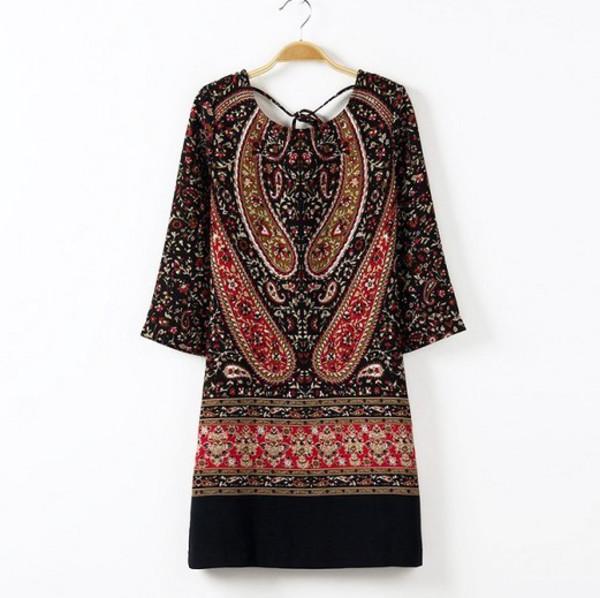 mini dress boho natural waistline hippie chic tunic dress