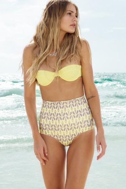 swimwear yellow high waisted bikini