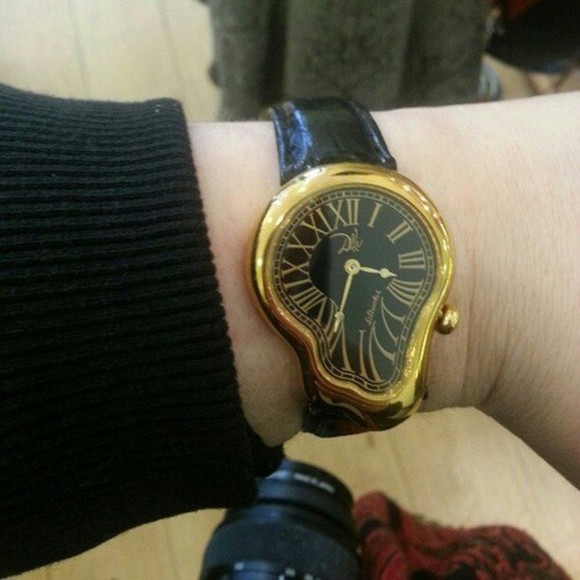 jewels watch art dali wrist watch surrealism surrealist salvador dali watches omg watch, gold, dripping, cool, hipster, black, pretty, cute, aztec, belt black cool watch gold, black, watch,