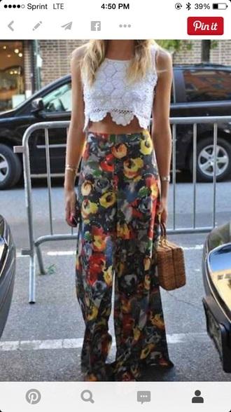 pants floral pants high waisted pants flowy pants floral blue yellow blouse