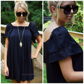 black dress,little black dress,shift dress,southern belle,southern chic,flare sleeves,ruffle sleeves,trendy,fall dress,chic,sophisticated dress
