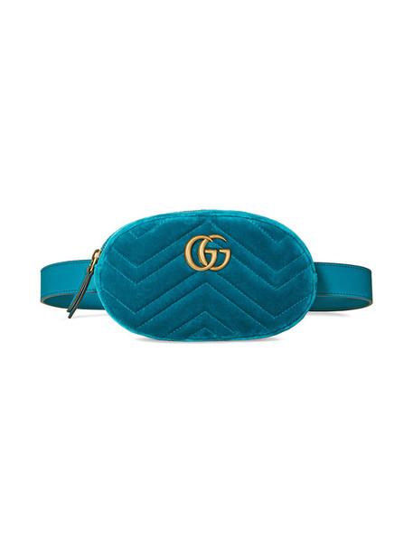 gucci belt bag women bag leather blue velvet