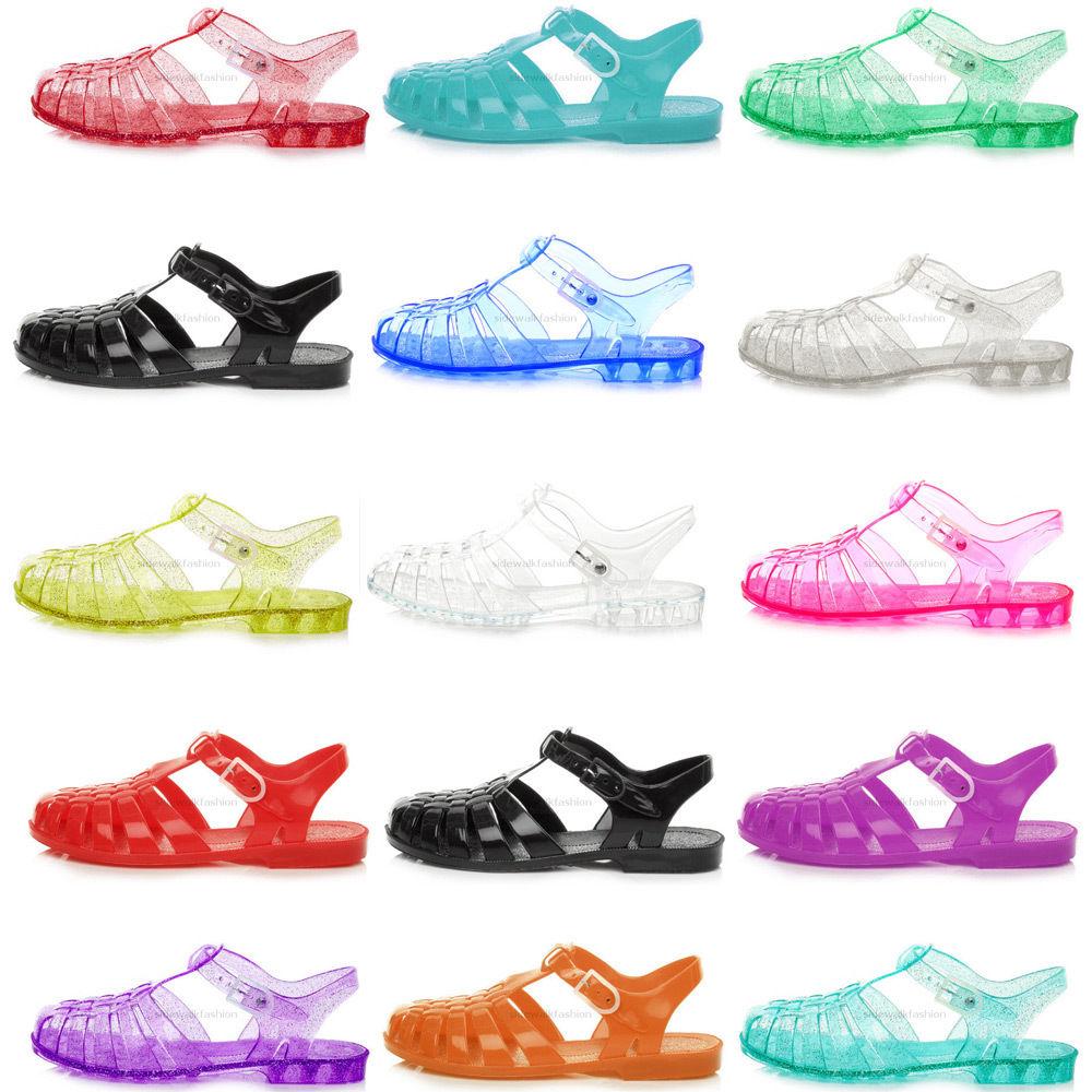 f529ddd0bf8890 womens ladies girls flat summer beach retro jelly sandals flip flops ...