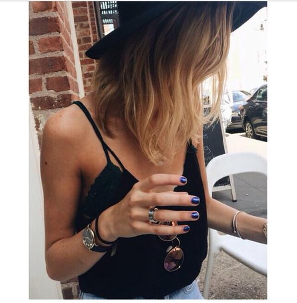 hat tank top top black top boho indie shirt sunglasses