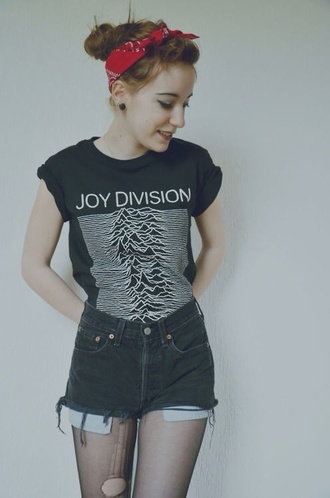 t-shirt joy division bandana band t-shirt bandana print grunge shorts underwear punk rock