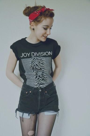 joy division t-shirt band t-shirt punk grunge bandana print