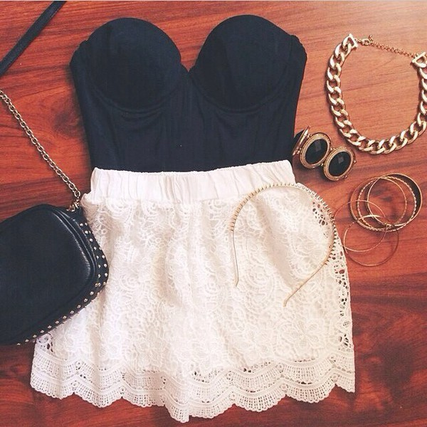skirt lace dress blouse style