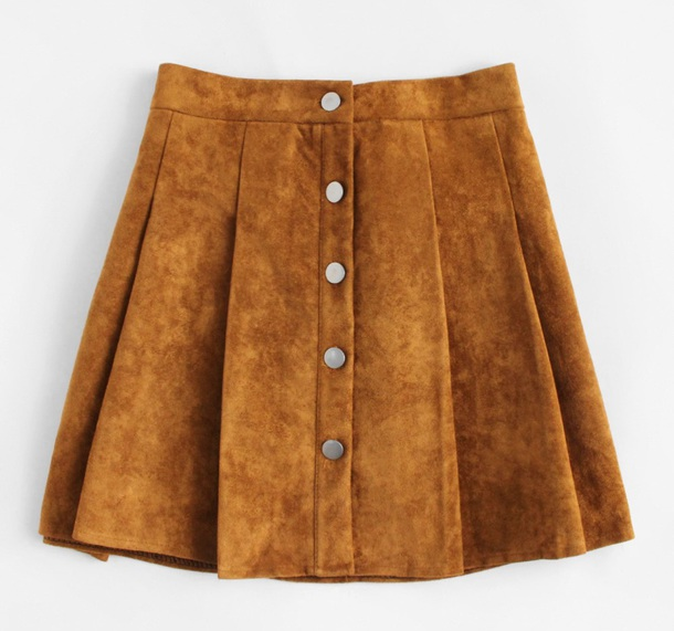 skirt girly brown button up button up skirt suede suede skirt