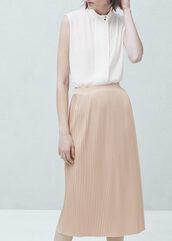 skirt,nude skirt,metallic skirt,metallic pleated skirt,midi skirt,pleated skirt