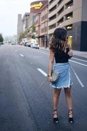 chictalk,blogger,bag,shoes,crossbody bag,skirt,denim skirt,top,heels,summer outfits