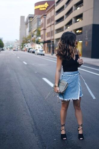 chictalk blogger bag shoes crossbody bag skirt denim skirt top heels summer outfits