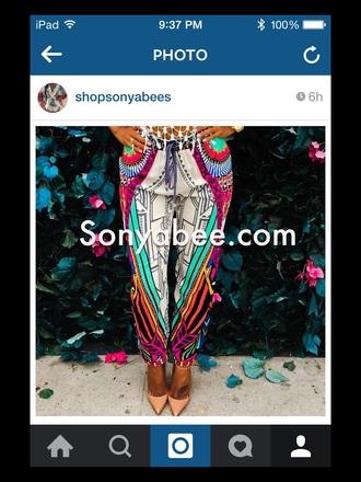 pants tribal pattern geometric trendy boho pants neon