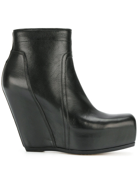 Rick Owens wedge boots zip women leather black shoes