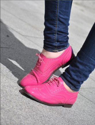 shoes brogue shoes pink shoes