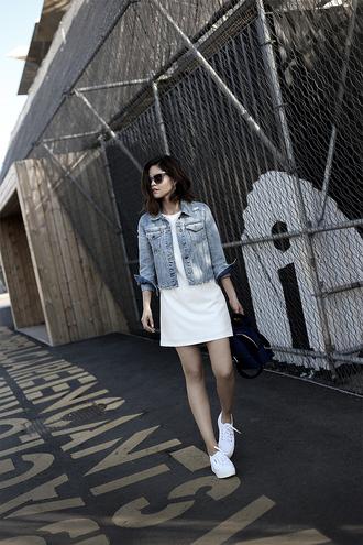 dress blue jacket tumblr mini dress white dress summer dress summer outfits jacket denim denim jacket sneakers white sneakers shoes bag