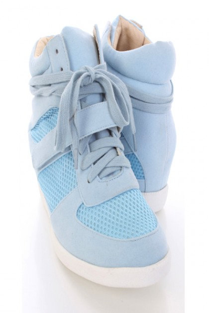 931b1fa0c7d6 Light Blue Faux Suede Lace Up Strapped Sneaker Wedges   Amiclubwear Wedges  Shoes Store Wedge Shoes