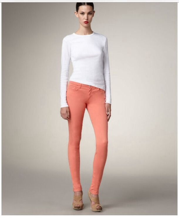 New J Brand Colored Denim Nectar Coral High Waist Skinny Jean w Stretch 25 | eBay
