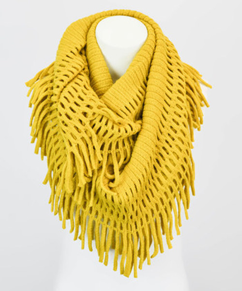 Boho chic crochet fringe infinity scarf in many colors!