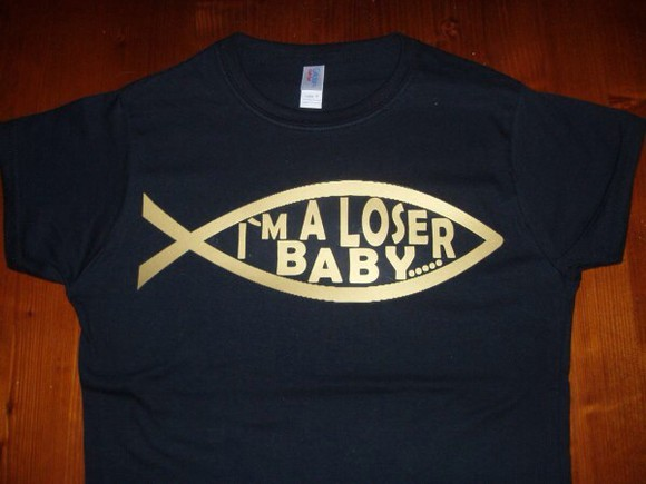 movie t-shirt i'm a loser baby napoleon dynamite black white shirt