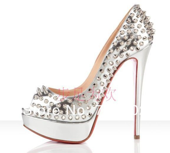 sale silver studded open toe high heels shoes for women dress