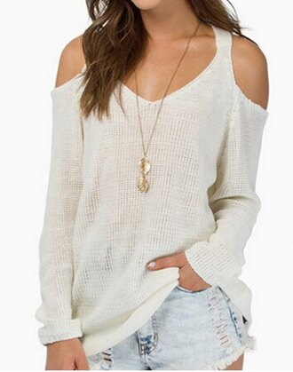 sweater white white t-shirt off the shoulder back to school casual streetwear urban loose knitwear fall outfits