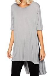 shirt,zaful,grey top,t-shirt,solid color,streetstyle,oversized,loose,loose shirt,irregular hem,irregular